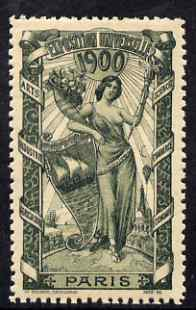 Cinderella - France 1900 International Exhibition, Paris, perf label #1 in sage-green, fine with full gum