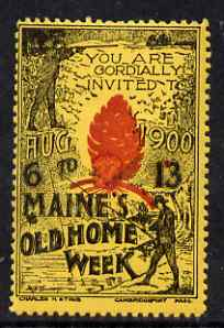 Cinderella - United States 1900 Maine's Old Home Week, perf label #2 in red & black on yellow very fine with full gum