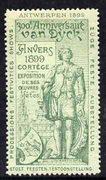 Cinderella - Belgium 1899 Van Dyck 300th Anniversary Exhibition, Antwerp, perf label #1 in green on green, fine with full gum