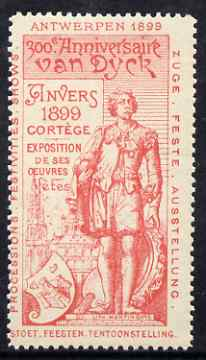 Cinderella - Belgium 1899 Van Dyck 300th Anniversary Exhibition, Antwerp, perf label #2 in red on white, fine with full gum
