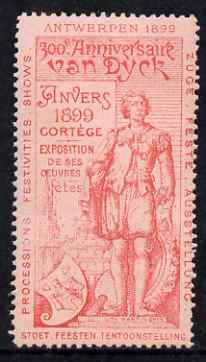 Cinderella - Belgium 1899 Van Dyck 300th Anniversary Exhibition, Antwerp, perf label #3 in red on pink, fine with full gum