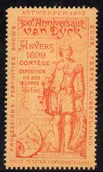 Cinderella - Belgium 1899 Van Dyck 300th Anniversary Exhibition, Antwerp, perf label #4 in red on salmon, fine with full gum