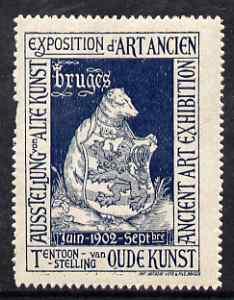 Cinderella - Belgium 1902 Ancient Art Exhibition, Bruges, perf label in blue, fine with full gum