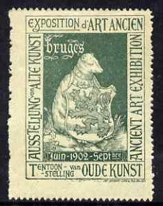 Cinderella - Belgium 1902 Ancient Art Exhibition, Bruges, perf label in green, fine with full gum