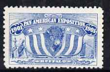 Cinderella - United States 1901 Pan American Exposition perforated label by R H Stamp Co in blue showing Buffalo, Flag, Lighthouse & Ship, fine without gum