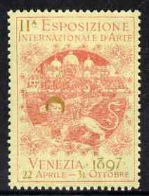 Cinderella - Italy 1897 International Art Exhibition, Venezia, perf label in red & gold fine with full gum