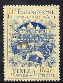 Cinderella - Italy 1897 International Art Exhibition, Venezia, perf label in blue & gold fine with full gum