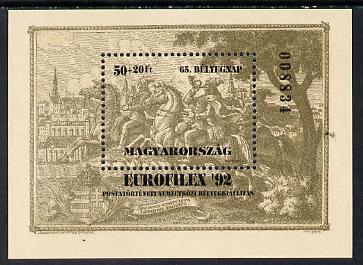Hungary 1992 'Europhilex 92' m/sheet (Engraving) pale olive-brown shade, Mi BL 221(1)
