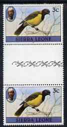Sierra Leone 1980-82 Birds - Oriole 3c (with 1982 imprint date) unmounted mint gutter pair SG 624B*