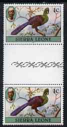 Sierra Leone 1980-82 Birds - Turaco 1c (with 1981 imprint) unmounted mint gutter pair SG 622B