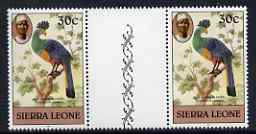 Sierra Leone 1980-82 Birds - Turaco 30c (with 1982 imprint date) unmounted mint gutter pair SG 630B*