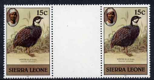 Sierra Leone 1983 Blue Quail 15c (with 1983 imprint) unmounted mint gutter pair SG 766