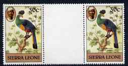 Sierra Leone 1983 Great Blue Turaco 30c (with 1983 imprint) unmounted mint gutter pair SG 768, slight signs of ageing
