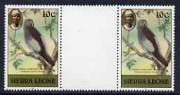 Sierra Leone 1983 Grey Parrot 10c (with 1983 imprint) unmounted mint gutter pair SG 765