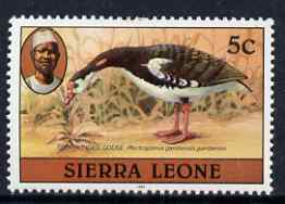 Sierra Leone 1983 Spur winged goose 5c (with 1983 imprint) unmounted mint SG 763