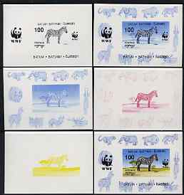 Batum 1994 WWF - Zebra deluxe sheet - the set of 6 progressive proofs comprising the 4 individual colours, plus 2-colour and all 4-colour composites, imperf and unmounted...