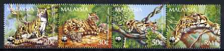 Malaysia 1995 WWF - Clouded Leopard perf strip of 4 unmounted mint, SG 563-66