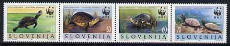 Slovenia 1996 WWF - Pond Turtle perf strip of 4 unmounted mint, SG 279-82