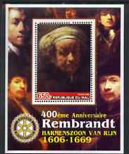 Mali 2006 400th Birth Anniversary of Rembrandt with Rotary logo perf m/sheet unmounted mint