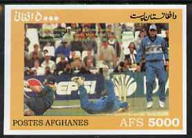 Afghanistan 1999 Cricket #5 imperf m/sheet (Geoff & Chris Harris of New Zealand with Herschelle Gibbs of S Africa) unmounted mint