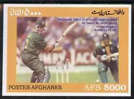 Afghanistan 1999 Cricket #7 imperf m/sheet (Herschelle Gibbs of S Africa & Glenn McGrath of Australia) unmounted mint