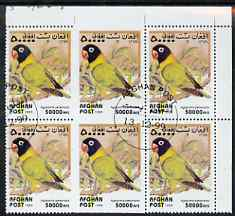 Afghanistan 1999 Love Birds (Agapornis personata) fine corner block of 6, centre two stamps imperf on three sides due to perf jump, fine cto used