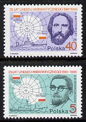 Poland 1986 Antarctic Agreement set of 2 unmounted mint SG 3047-48