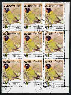 Afghanistan 1999 Love Birds (Agapornis personata) fine corner block of 9, centre three stamps imperf on three sides due to perf jump, fine cto used