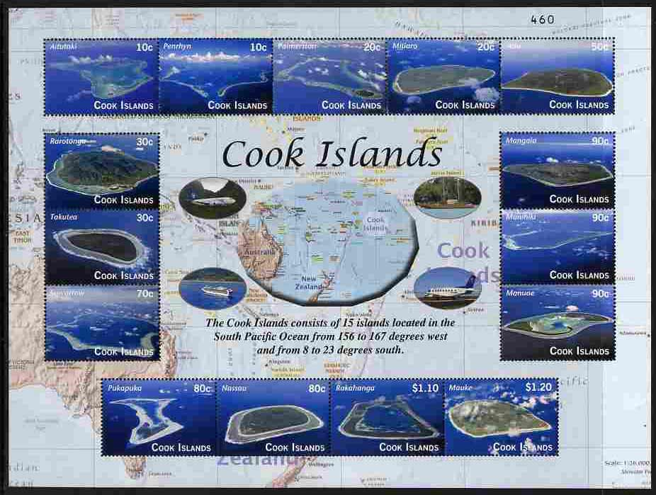 Cook Islands 2010 The Islands perf sheetlet containing 15 values numbered from a limited printing, unmounted mint