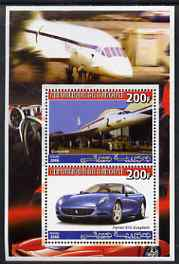 Djibouti 2006 Concorde & Ferrari 612 Scaglietti perf sheetlet containing 2 values unmounted mint