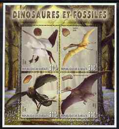 Djibouti 2006 Dinosaurs & Fossils #2 perf sheetlet containing set of 4 unmounted mint