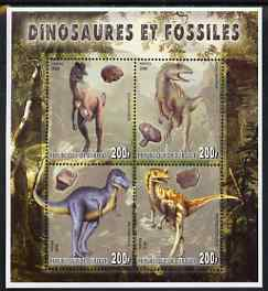 Djibouti 2006 Dinosaurs & Fossils #3 perf sheetlet containing set of 4 unmounted mint