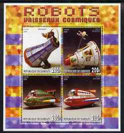 Djibouti 2006 Robots - Spaceships perf sheetlet containing 4 values unmounted mint