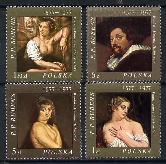 Poland 1977 Rubens Paintings set of 4 unmounted mint SG 2484-87, stamps on arts     nudes, stamps on renaissance