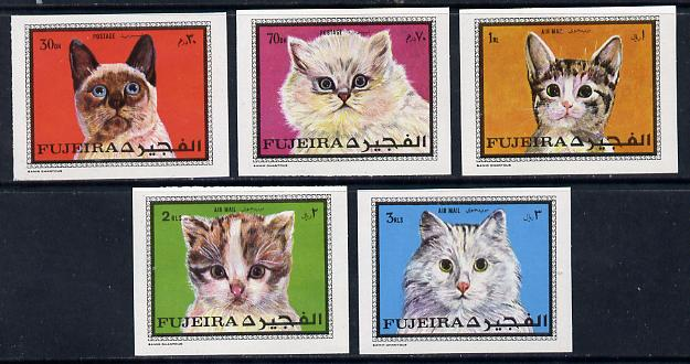 Fujeira 1970 Cats imperf set of 5 unmounted mint (Mi 588-92B)