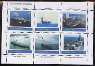 Chartonia (Fantasy) US Aircraft Carriers perf sheetlet containing 6 values unmounted mint