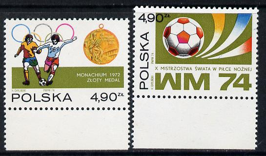 Poland 1974 Football World Cup set of 2 unmounted mint SG 2301-02