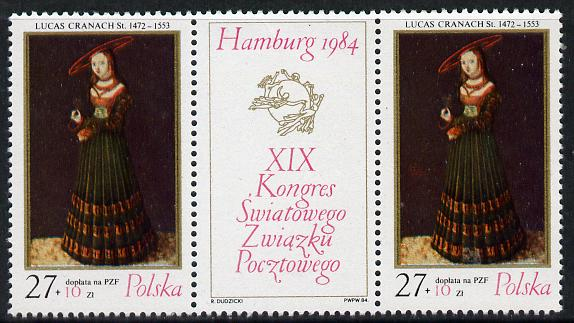 Poland 1984 Universal Postal Union Congress (Painting se-tenant with label) unmounted mint SG 2936