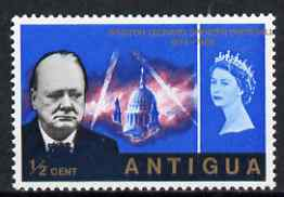 Antigua 1966 Churchill Commem 1/2c with superb 15mm shift of gold resulting in value at left & country name at right, plus the top inscription also shifted to right, unmo...