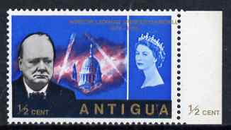 Antigua 1966 Churchill Commem 1/2c marginal single from right of sheet with superb 15mm shift of gold resulting in value at left & country name at right (plus the top ins...