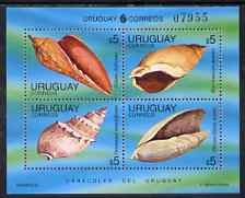 Uruguay 1995 shells sheetlet containing set of 4 x $5 values unmounted mint