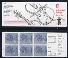 Booklet - Great Britain 1986-87 Musical Instruments #1 (Violin) \A31 booklet complete with cyl number, SG FH5