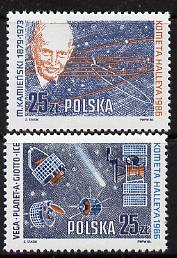 Poland 1986 Halley's Comet set of 2 in se-tenant pair unmounted mint SG 3027a