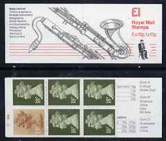 Booklet - Great Britain 1986-87 Musical Instruments #3 (Bass Clarinet) \A31 booklet complete with cyl numbers, SG FH7