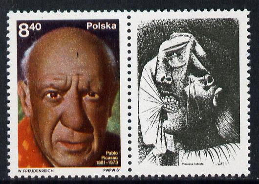 Poland 1981 Picasso (portrait se-tenant with label) unmounted mint SG 2719