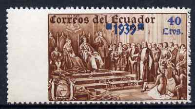 Ecuador 1939 the unissued Columbus 40c value marginal single imperf between stamp and margin, unmounted