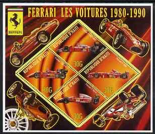 Haiti 2006 Ferrari Cars 1980-1990 perf sheetlet containing 4 diamond shaped values unmounted mint