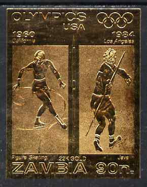 Zambia 1984 Los Angeles Olympic Games 90n imperf embossed in 22k gold foil showing Figure Skating & Javelin unmounted mint