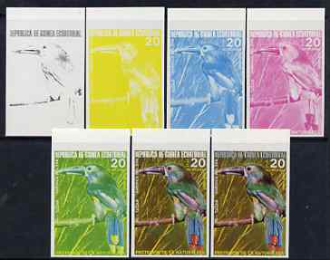 Equatorial Guinea 1974 South American Birds 20P Toucan, the set of 7 imperf progressive proofs comprising the 4 individual colours, plus 2, 3 and all 4-colour composites, superb unmounted mint, Mi 493