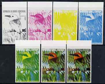 Equatorial Guinea 1974 South American Birds 1P25 Motmot, the set of 7 imperf progressive proofs comprising the 4 individual colours, plus 2, 3 and all 4-colour composites, superb unmounted mint, Mi 483